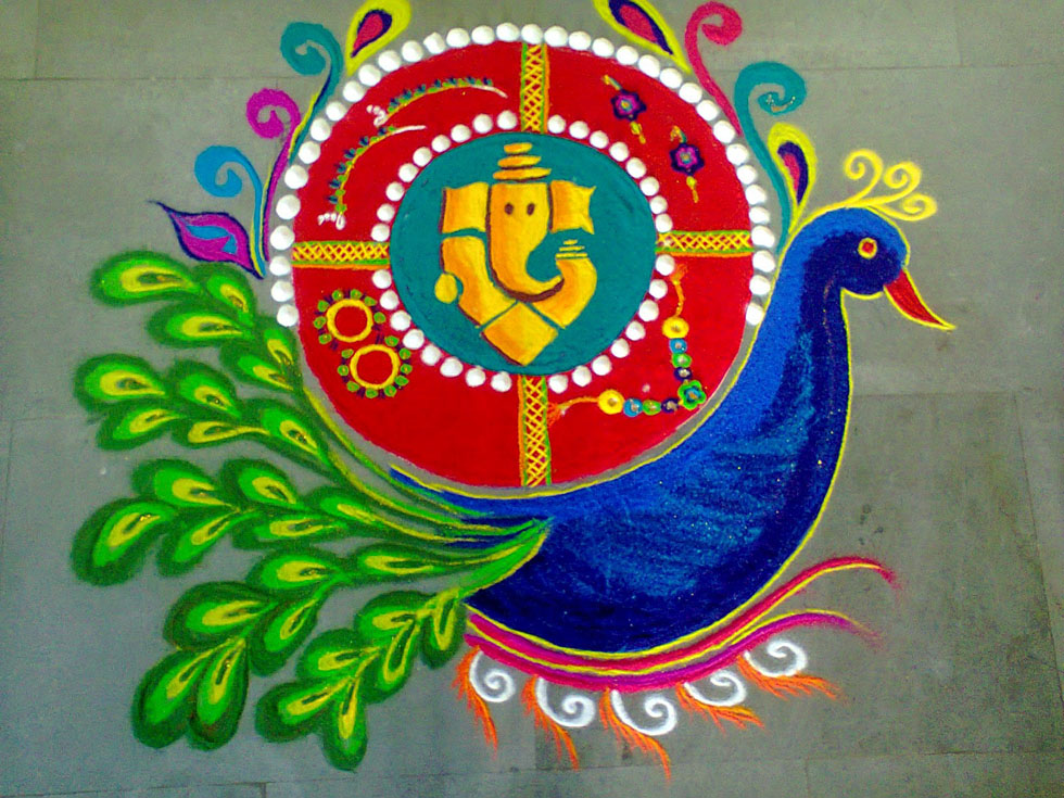 20 Amazing Free hand Rangoli Designs for Competition 13