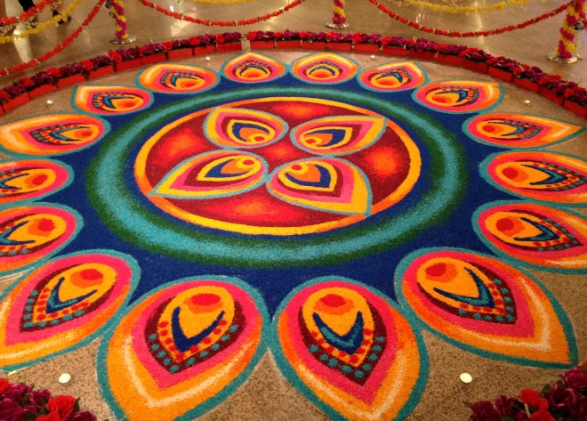 20 Amazing Free hand Rangoli Designs for Competition 15