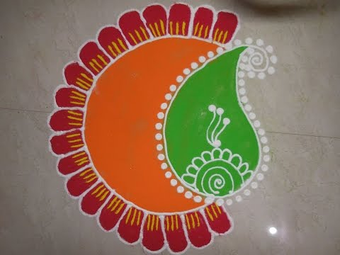 20 Amazing Free hand Rangoli Designs for Competition 7