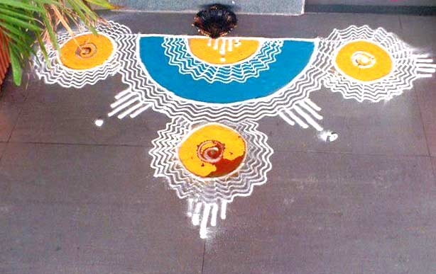 20 Amazing Free hand Rangoli Designs for Competition 8