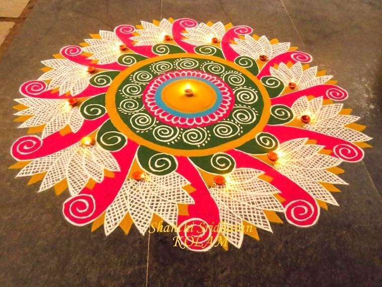 20 Amazing Free hand Rangoli Designs for Competition 9