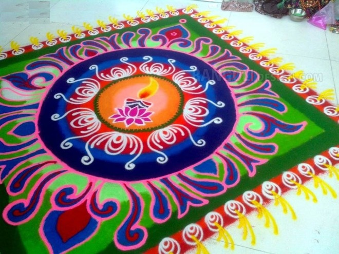20 Amazing Free hand Rangoli Designs for Competition 10