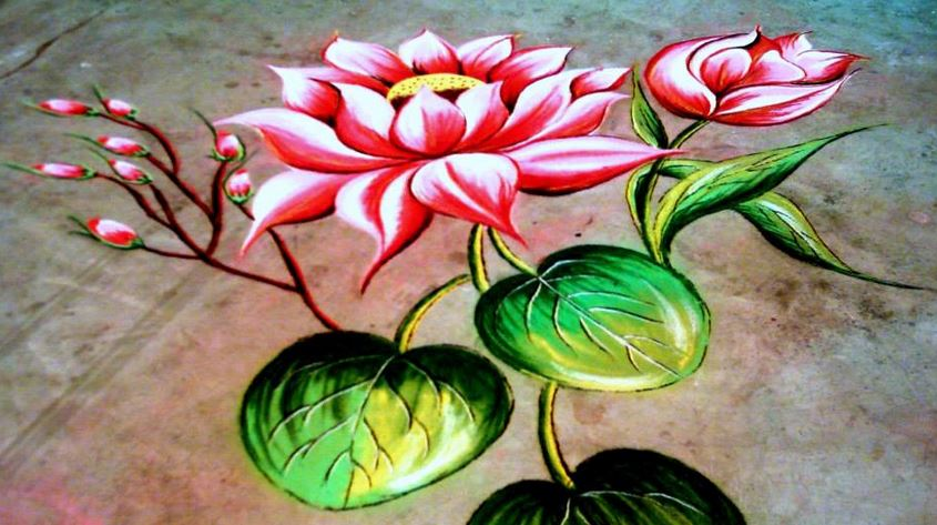 20 Amazing Free hand Rangoli Designs for Competition 11