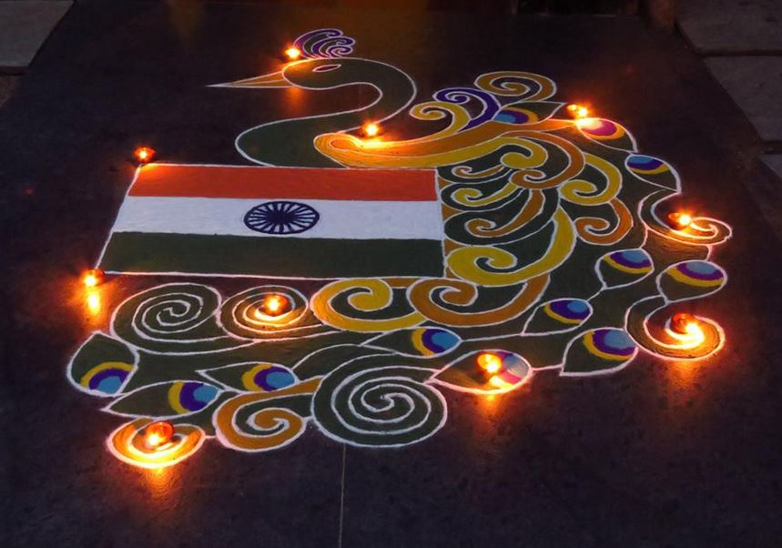 20 Amazing Free hand Rangoli Designs for Competition 12